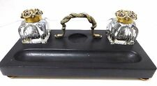 Antique Double Crystal Ink Wells with Brass Snake Handle Stand- 1800's