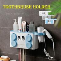 Wall Mounted Toothbrush Dispenser Toothpaste Holder Cleaner Bathroom Organiser