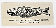 small 1883 magazine engraving ~ FISH CAST IN SILVER, FROM CHIMU Peru