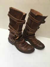 Fiorentini Baker Brown leather moto Eternity Leather 3 Buckle Boots Size 36/6