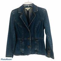 St. John's Bay Women's Blue Jean Denim Jacket Sz Petite Medium Button Front