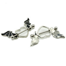 Heart Wings 14G nipple ring PAIR 2 jewelry stainless stirrup bat black