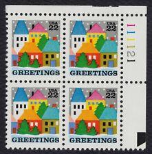 #2245 22c Christmas: Greetings, Plt Blk [111121 UR] Mint ANY 4=