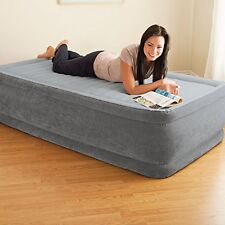 "Twin Size Air Bed Mattress 18"" Built In Electric Pump Raised Guest Inflatable"