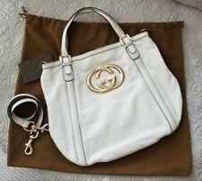 100% Authentic Gucci White Leather Britt Hobo Tote Handbag