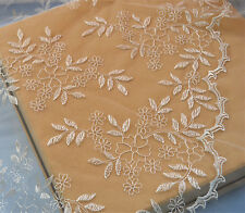 """Ivory Embroidery Bridal Lace Fabric 53"""" Wide Floral Wedding Lace Fabric 1 Yard"""