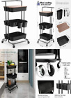 DTK 3 Tier Utility Rolling Cart with Cover Board, Storage Black