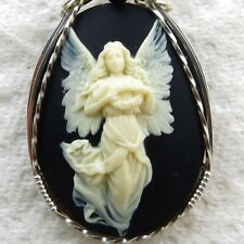 Angel Cameo Pendant .925 Sterling Silver Jewelry Black Resin