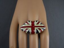 Cream Red Blue Union Jack British Flag LIPS enamel big cocktail statement ring