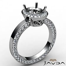 Diamond Engagement Halo Pave Eternity Ring 18k White Gold Oval Semi Mount 1.45Ct