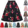 Womens Vintage 50s Retro High Waisted A Line Tutu Pleated Swing Dress Midi Skirt