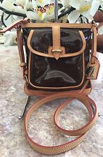 New Dooney & Bourke BROWN Patent Leather & Tan saddle bag Cross-body Purse $198