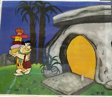 Flintstones- Fred Original Production Cel w/Drawing On Printed Background