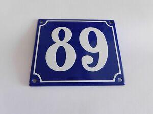 Old French Blue Enamel Porcelain Metal House Door Number Street Sign / Plate 89