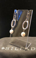 Silpada 925 Sterling Silver Hammered Coin Pearl Earrings (3.3g) W1253 Gift❤️