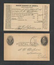 1908 Modern Woodmen Of America Official Receipt Advertising Us Postal Card Ux18