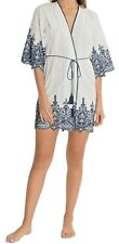 NWT In Bloom by Jonquil White/Navy EMBROIDERED EYELET Robe XS/S Light Cotton