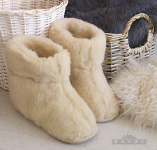 New Women's Men's Natural Cream Sheep Snug Sheep Wool Slippers Hard Sole Boots