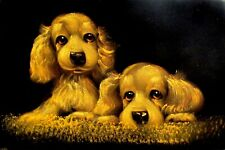 Black Velvet Golden COCKER SPANIEL Puppies Dogs Stretched Unframed Painting