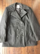 Classic Men's Black Wool Double Breasted Pea Coat Mariner Anchor Button 36 Small
