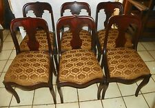 Set Of 6 Flame Mahogany Empire Sidechairs / Dinette Chairs (DC32)