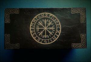 Handmade engraved wooden jewellery / organizer box Viking Vegvisir Runic Compass