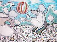 Standard Poodle on the Beach Pop Art Print 8x10 Dog Collectible Signed by Artist