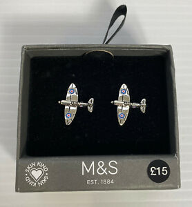M&S SPITFIRE WW11 Airplane Cufflinks Cuff Links RRP £15 Boxed Silver Colour