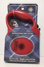 AKC American Kennel Club Retractable Dog Leash Red 16 Feet (55 Lb)