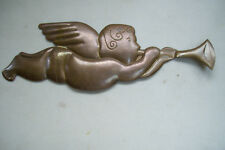 """DEPT 56  Angel With Horn Metal Brass Wall Hanging 17"""" X 5.5"""""""