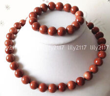 Natural 6/10/12/14mm Galaxy Staras Gold Sandstone Gems Necklace Bracelet Set AAA