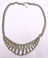 collier couleur argent bijou vintage jewellery déco centrale rigide * 3866