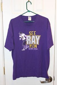 """purple Baltimore Ravens """"See Ray Run"""" Ray Rice two-sided t-shirt - adult XL"""
