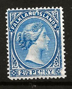 FALKLANDS  (Y-015) 1891 SG28 DULL BLUE KEY VALUE FINE MM GOOD GUM 2 SCANS