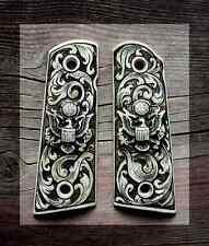 Colt 1911 45  IP Ivory Grips, Government  & Commander, Carved with Eagle Emblems