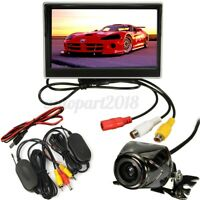 Kit 5'' Monitor Con Wireless 170° Telecamera Retromarcia Per Auto Camion Camper