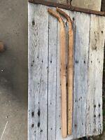 "Set Of 55"" New Unused Steam Bent HIckory Wood Walk Behind Plow Planter Handles"
