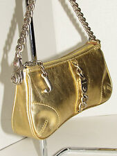 JUICY COUTURE Gold Metallic Leather Baguette Bag Purse