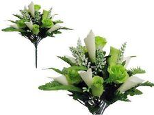 """Seafoam Rose Lily 17"""" Bouquet Poly Silk Wedding Home Decor Craft Flower Leaf"""