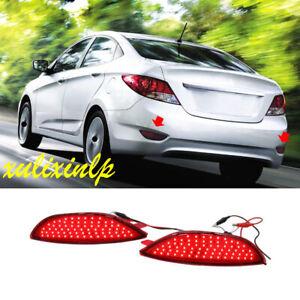2pcs For 2012-2017 Hyundai Accent Sedan LED Rear Fog Lights Brake warning Lights