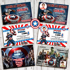 Personalised CAPTAIN AMERICA AVENGERS Photo Birthday Invite Invitations card