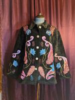 * Indigo Moon Black Embroidered Cotton Blazer Womens M Lightly Used Closet139*