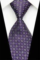 Tie Necktie Purple Checkered Classic 100% Silk Jacquard Woven Mens Ties Neckties