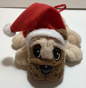 "Pound Puppies Christmas Puppy Ornament 6"" Plush Mattel 2004 Mini ~ Brown & Tan"