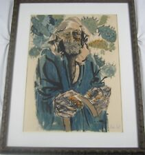 Original Pencil Signed Moshe Gat Lithograph Man with Cacti S/N 171/200