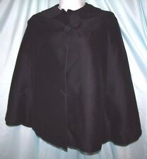 Vintage Solid Black Polyester Wool Blend Cape Size One size fits S/M/L  60s/70s
