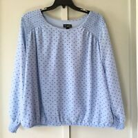 I.N. Studio Women's Size 3X Peasant PopOver Blue Periwinkle Ruched Hem Sleeve
