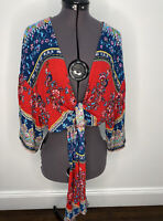 Patrons Of Peace Boho Wrap Cropped Cardigan Top Size S EUC