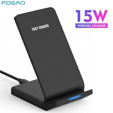 US 15W Qi Wireless Charger Fast Charging Dock Stand For iPhone 11 XS Samsung S20