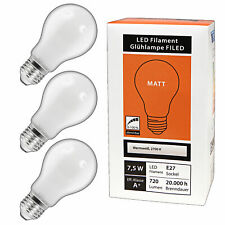 3x E27 LED 7,5 Watt dimmbar warmweiß Milchglas matt Lampe Birne Glühbirne Birne